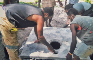 Construction of cement toilet slab in PNG