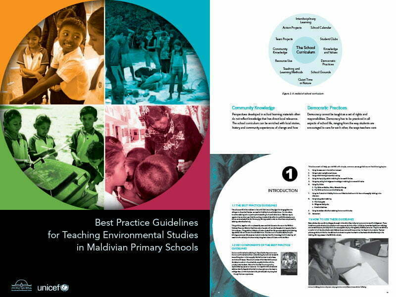 Cover page for the document 'Best Practice Guidelines for Teaching Environmental Studies in Maldivian Primary Schools'